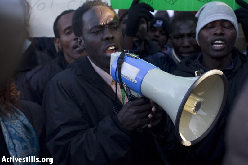 """מוג'אהד בעת ההפגנה בירושלים בסיומה של צעדת החירות מ""""חולות"""""""